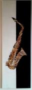 tableau autres saxophone : SAX noir sur blanc