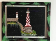 tableau marine phares espace : Les 2 amers