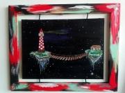 tableau marine maison phare espace : la petite maison de l'espace