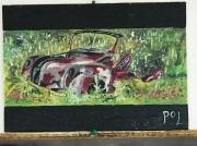 tableau autres epave voiture ancienne : Dans les herbes