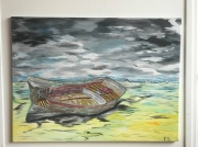 tableau marine vieux bateaux epave mer : Epave sur sable Breton