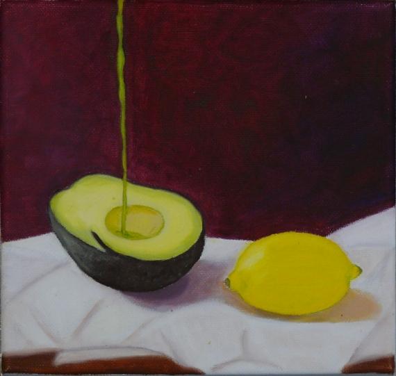 TABLEAU PEINTURE avocat et citron nature morte huile sur toile original Nature morte Peinture a l'huile  - avocat