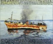 painting marine bateau epave marine huile sur toile original : Bâteau