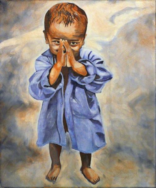TABLEAU PEINTURE enfant fond bleu et ocre fond texturé original Personnages Peinture a l'huile  - Enfant