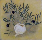 painting nature morte ail et olives decoratif et graphiq huile sur toile format carre : olivier