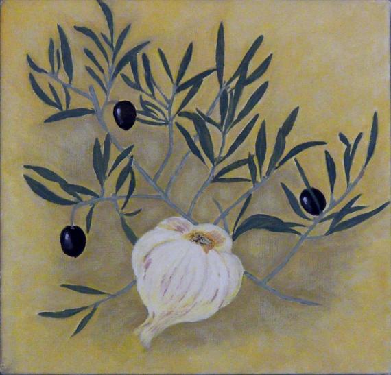 TABLEAU PEINTURE ail et olives décoratif et graphiq huile sur toile format carré Nature morte Peinture a l'huile  - olivier