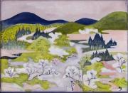 painting paysages paysage de printemps style japonisant huile sur toile original : printemps
