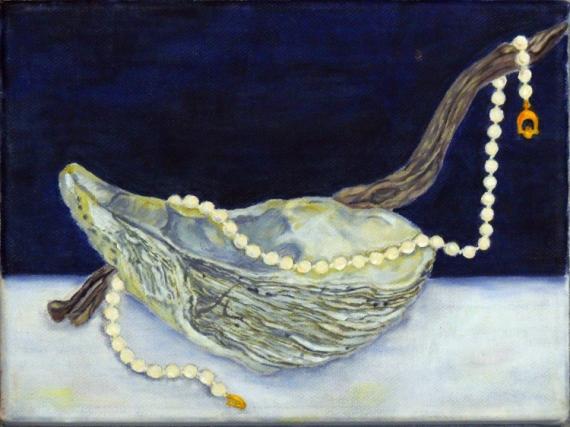 TABLEAU PEINTURE huître et perles bleu marine huile sur toile original Nature morte Peinture a l'huile  - perles