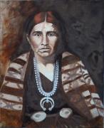 painting personnages portrait indienne monochrome brun original : Amérindienne