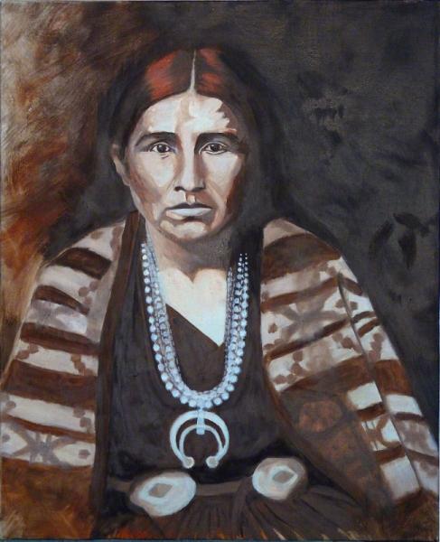 TABLEAU PEINTURE portrait indienne monochrome brun original Personnages Peinture a l'huile  - Amérindienne
