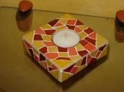 artisanat dart autres bougeoir carre mosaique emaux : bougeoir Le carré tons jaune et ocre