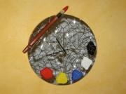 artisanat dart autres mosaique miroir palette horloge : horloge palette en mosaique miroir et faience