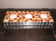 artisanat dart autres bougeoir mosaique trio rectangle : bougeoir le trio en mosaique ocre et miroir