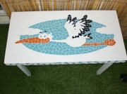 artisanat dart animaux table cigogne mosaique faience : Table basse plateau motif cigogne