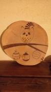 bois marqueterie autres noel chouette dessous de plat pyrogravure : chouette de noël