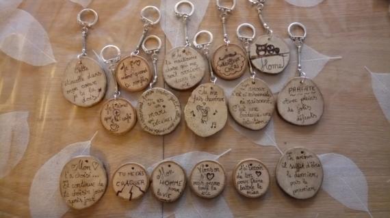 BOIS, MARQUETERIE amour saint valentin porte clefs citation  - Saint Valentin