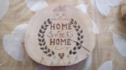 "bois marqueterie autres couronne feuille accueil porte clefs : couronne ""home sweet home"""