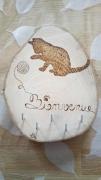 bois marqueterie animaux chat laine accueil porte clefs : chat pelote
