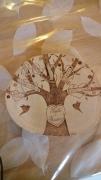 bois marqueterie paysages arbre genealogique famille deco murale coeur : arbre généalogique