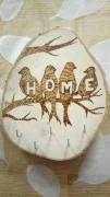 """bois marqueterie animaux hirondelle arbre accueil porte clefs : hirondelles """"home"""""""