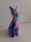 sculpture animaux chat : Chat bizarre bleu