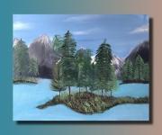 tableau paysages sapin montagne nature bleu : Paysage sapin montagne nature