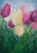tableau fleurs painting tulips flowers and plants abstract home decor : painting *Tulips* Tulip Oil Painting Impasto Painting ,