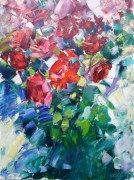 tableau fleurs red roses artmodern abstract and nonfig abstrait : painting *Red roses*  Livraison gratuite