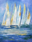 tableau marine landscapes sea and abstract home decor painting golden rega : painting *Golden Regatta* Livraison gratuite