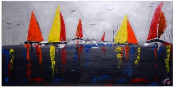 tableau peinture bateau voile mer noir-gris