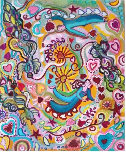 Tableau Peinture Chagall Inspiration Toile Onirique Semeurs Coeurs Amour Imaginaire Les Semeurs D Amour Vendu